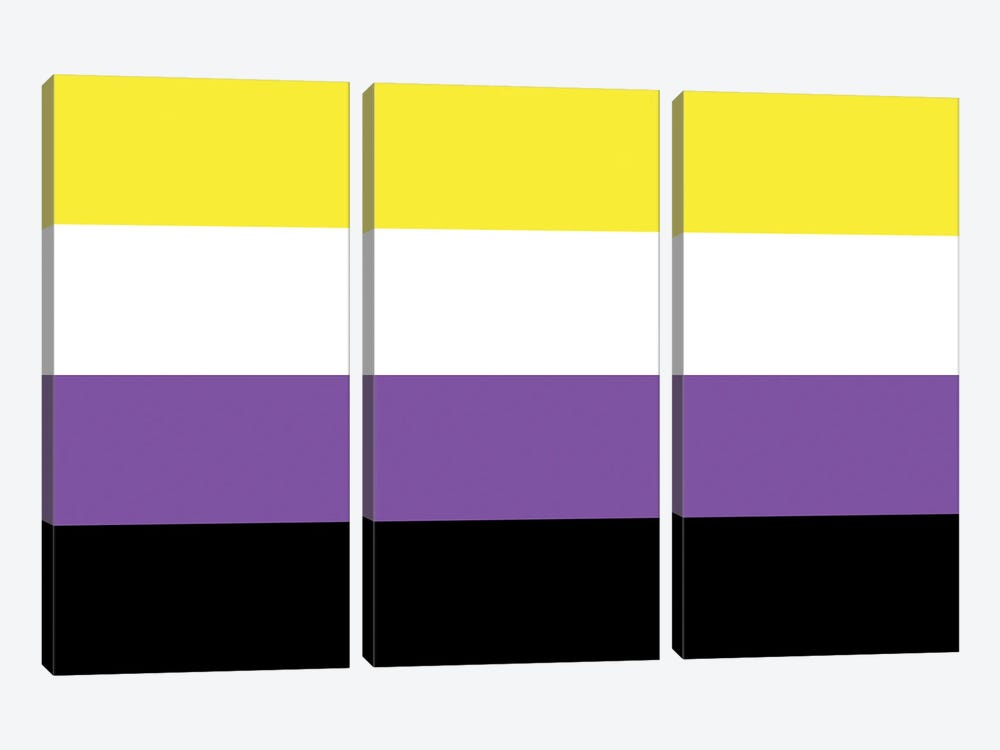 Non-Binary Pride Flag by 5by5collective 3-piece Canvas Art Print