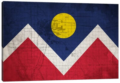 City Flag Overlay Series: Denver, Colorado (Roadway Blueprint) II Canvas Art Print