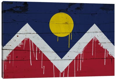 Denver, Colorado Paint Drip City Flag on Wood Planks Canvas Print #FLG78