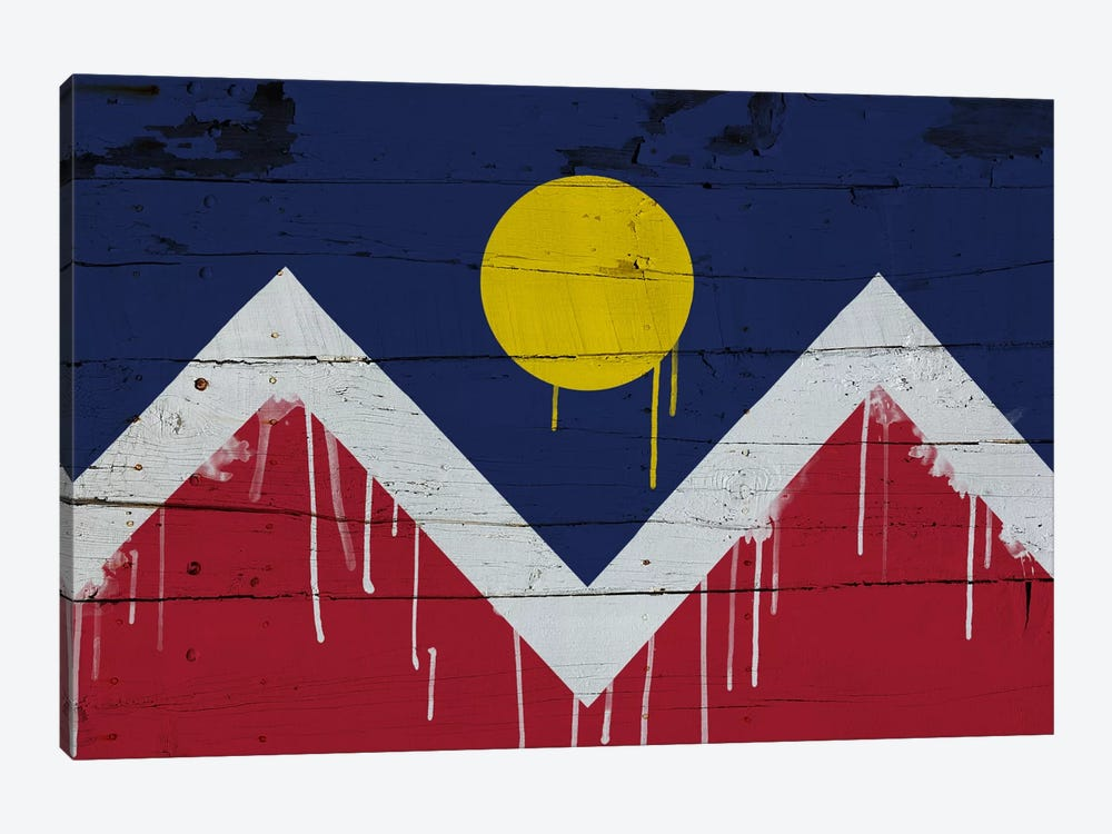 Denver, Colorado Paint Drip City Flag on Wood Planks 1-piece Canvas Art Print