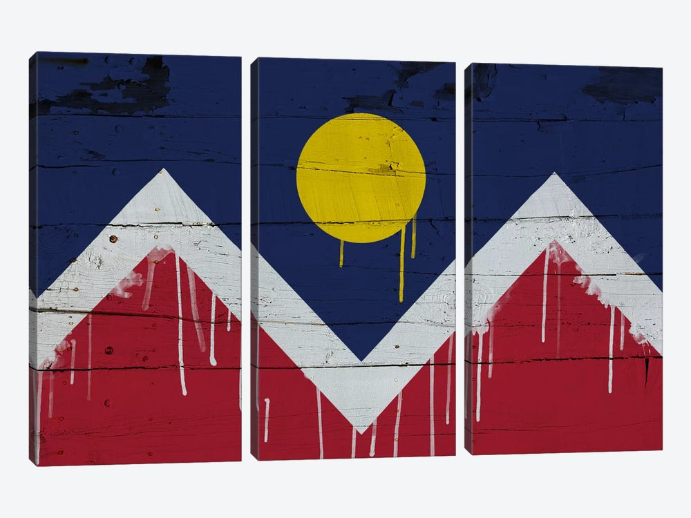 Denver, Colorado Paint Drip City Flag on Wood Planks 3-piece Canvas Art Print