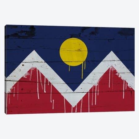 Denver, Colorado Paint Drip City Flag on Wood Planks Canvas Print #FLG78} by iCanvas Art Print