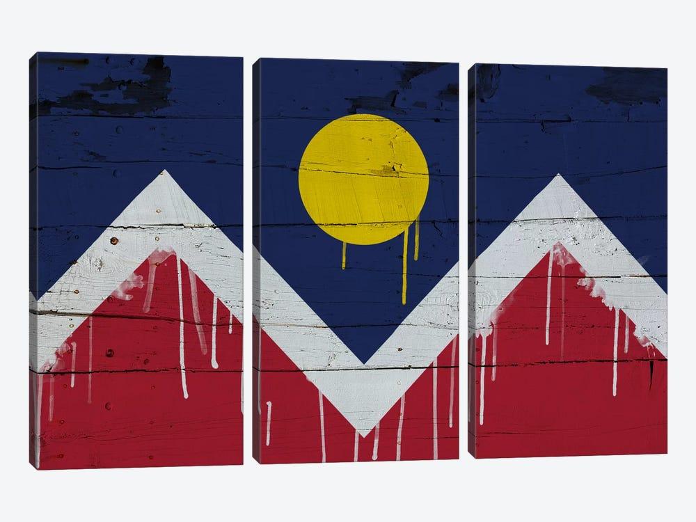 Denver, Colorado Paint Drip City Flag on Wood Planks by iCanvas 3-piece Canvas Art Print