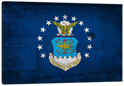 U.S. Air Force Flag (Riveted Fighter Jet Panel Background) I Canvas Art Print