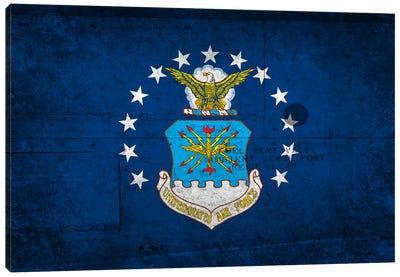 U.S. Air Force Flag (Riveted Fighter Jet Panel Background) I Canvas Art Print