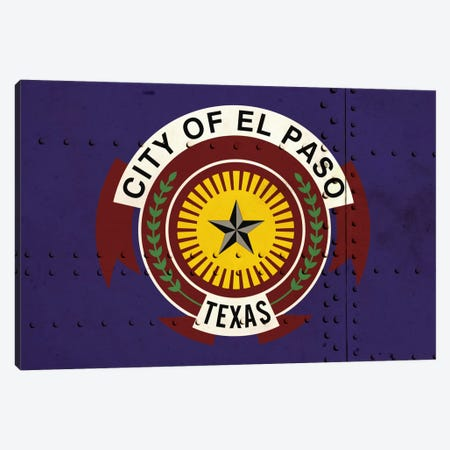 El Paso, Texas City Flag on Riveted Metal Canvas Print #FLG81} by iCanvas Canvas Artwork
