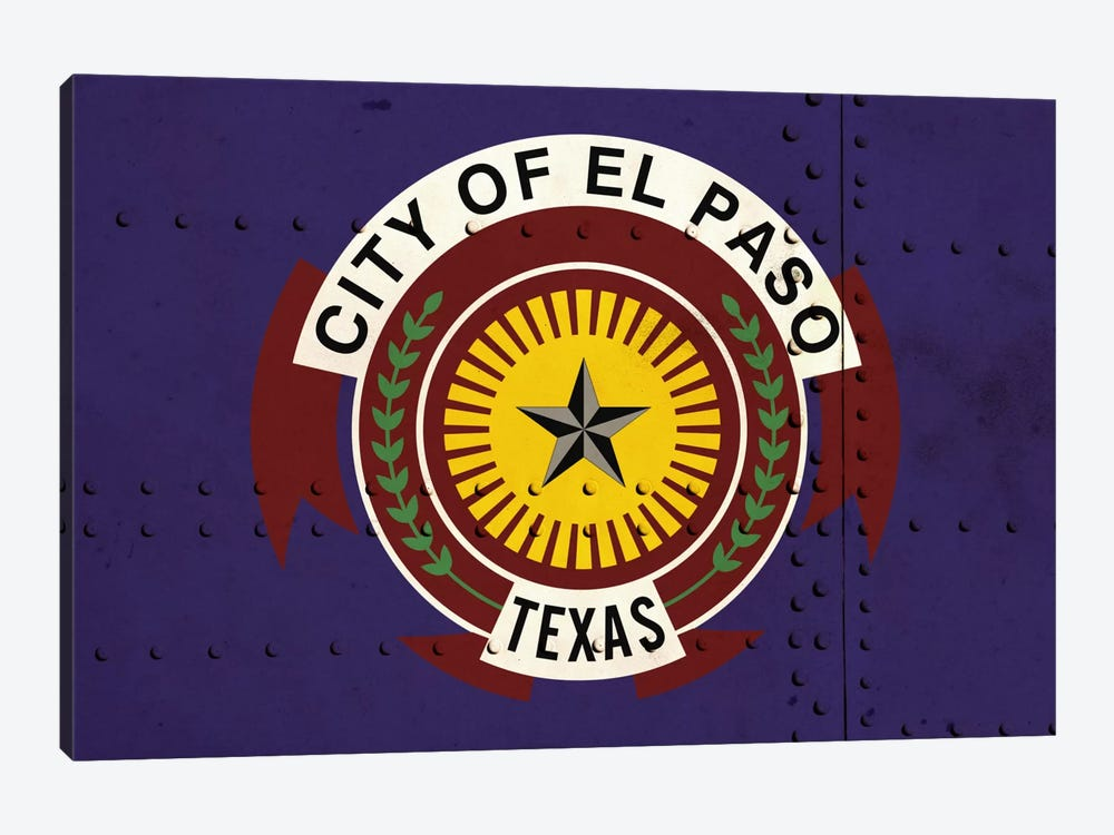 El Paso, Texas City Flag on Riveted Metal by iCanvas 1-piece Art Print