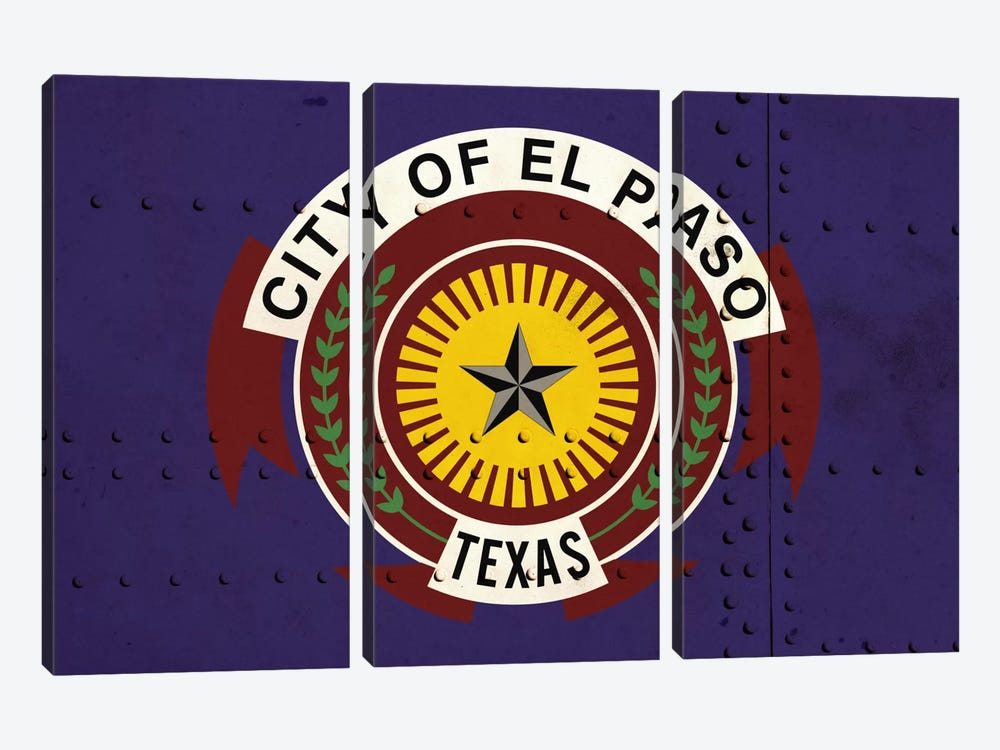 El Paso, Texas City Flag on Riveted Metal by iCanvas 3-piece Art Print