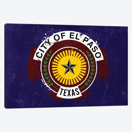 El Paso, Texas Fresh Paint City Flag Canvas Print #FLG83} by iCanvas Canvas Art