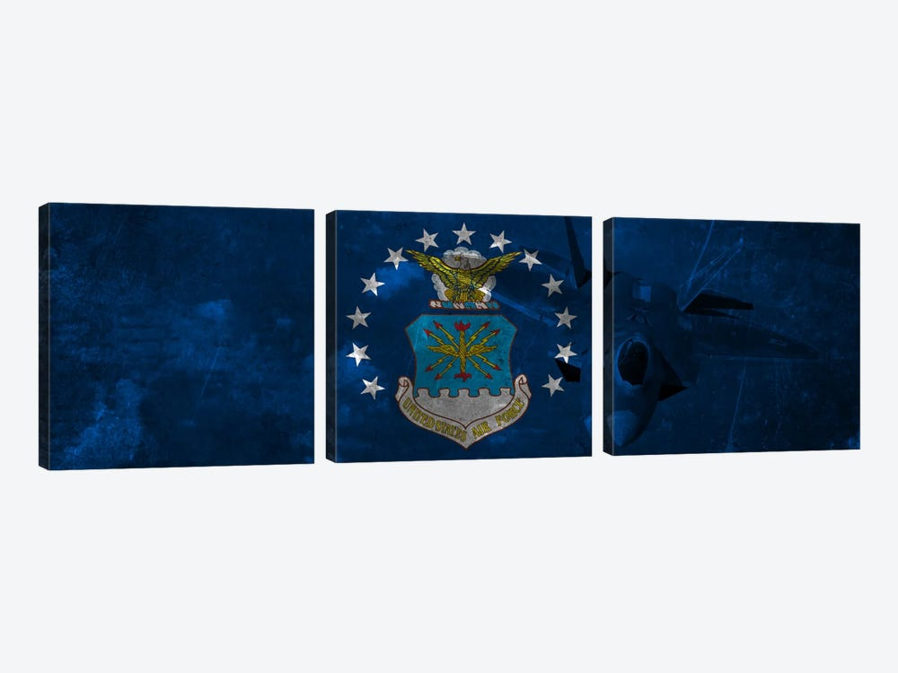 U.S. Air Force Flag (F-22 Raptor Background) II by iCanvas 3-piece Canvas Art