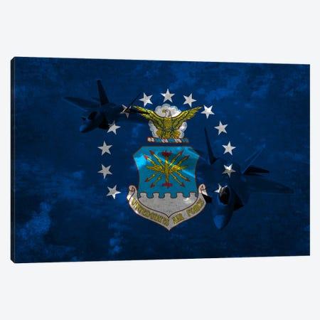 U.S. Air Force Flag (F-22 Raptor Background) Canvas Print #FLG9} by iCanvas Canvas Wall Art