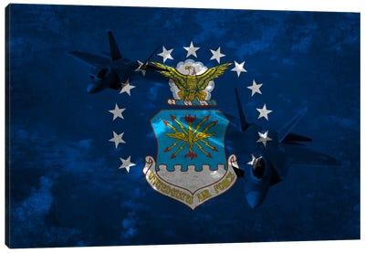 U.S. Air Force Flag (F-22 Raptor Background) Canvas Art Print