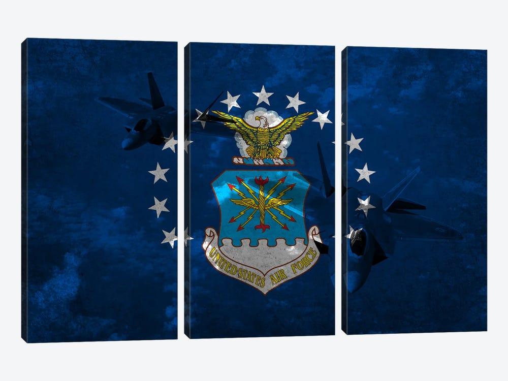 U.S. Air Force Flag (F-22 Raptor Background) by iCanvas 3-piece Art Print