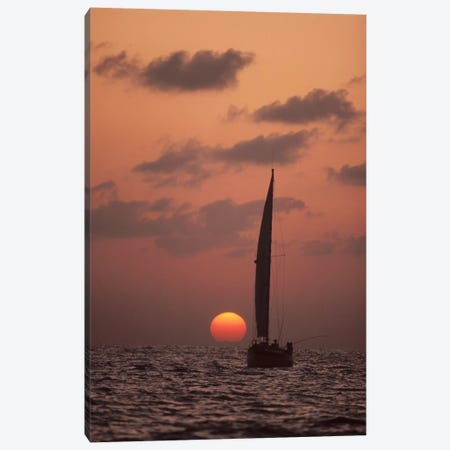 Sailboat Adrift At Sunset, Sri Lanka Canvas Print #FLI13} by Flip Nicklin Art Print