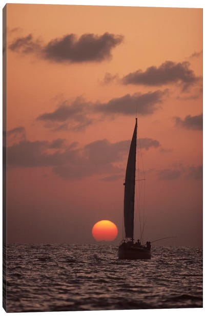 Sailboat Adrift At Sunset, Sri Lanka Canvas Art Print