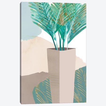 Teal Palm I Canvas Print #FLK1} by Flora Kouta Canvas Wall Art