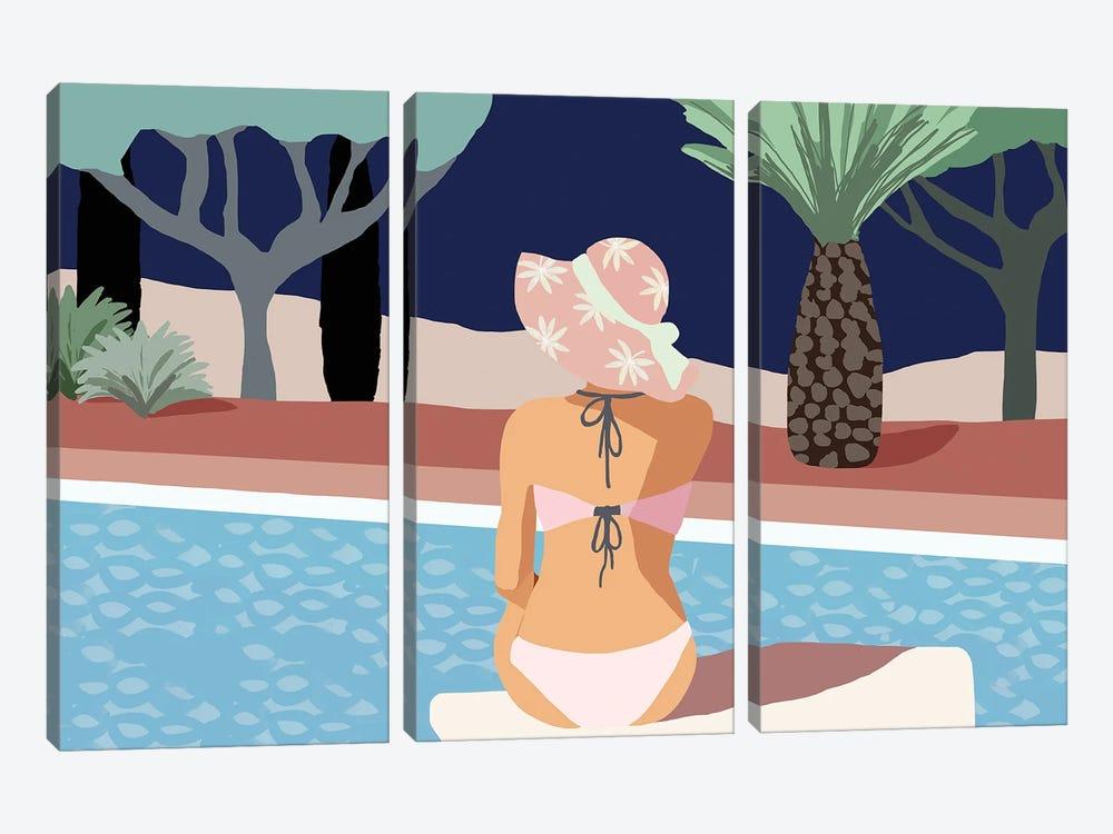 Pool Days II by Flora Kouta 3-piece Canvas Print