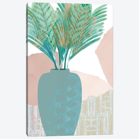 Teal Palm II Canvas Print #FLK2} by Flora Kouta Canvas Art