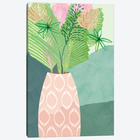 Colourful Palm Vase I Canvas Print #FLK5} by Flora Kouta Art Print
