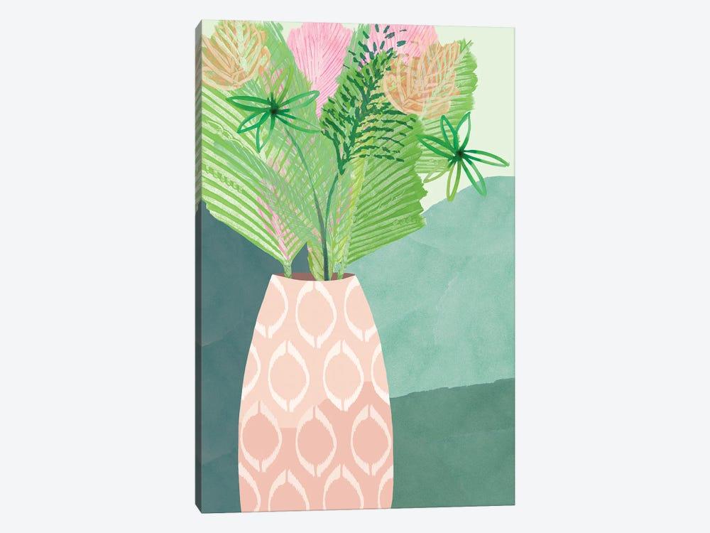 Colourful Palm Vase I by Flora Kouta 1-piece Canvas Art Print