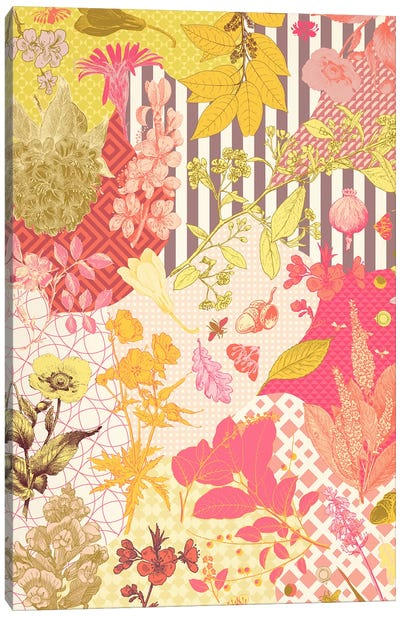 Leaves & Ornaments (Red&Yellow) Canvas Print #FLPN101