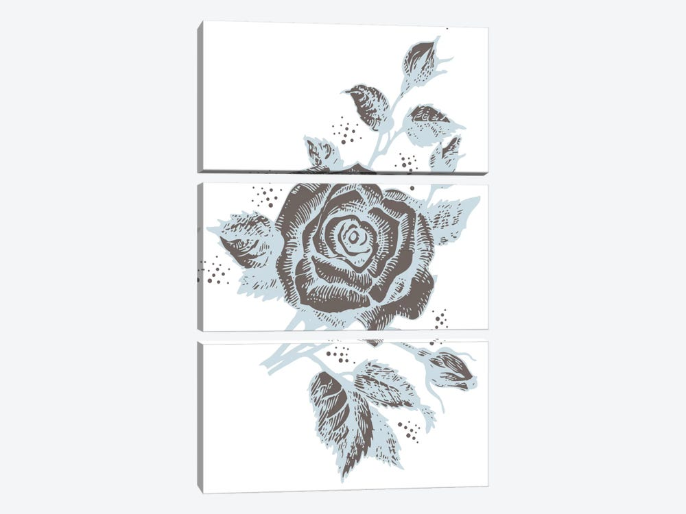 Rose (Brown&Gray) 3-piece Canvas Print