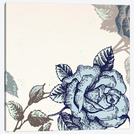 Roses (Brown&Blue) Canvas Print #FLPN107} by 5by5collective Canvas Print