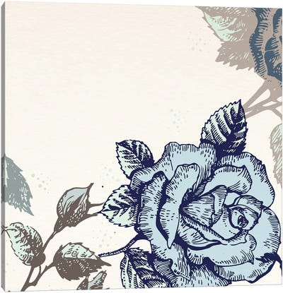 Roses (Brown&Blue) Canvas Art Print