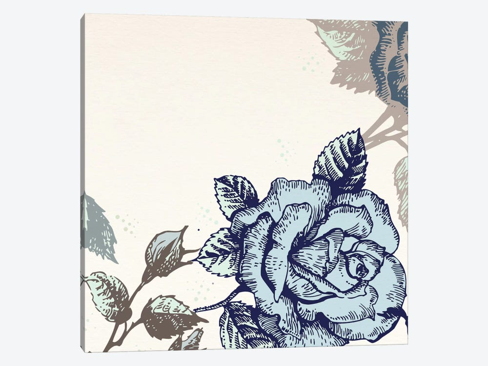 Roses (Brown&Blue) by 5by5collective 1-piece Canvas Wall Art