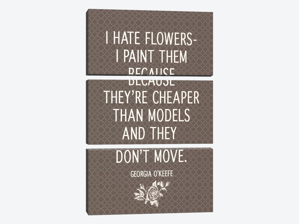 I Hate Flowers by 5by5collective 3-piece Canvas Art Print