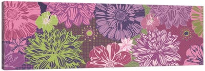 Flowers & Patterns (Green&Pink) Canvas Art Print
