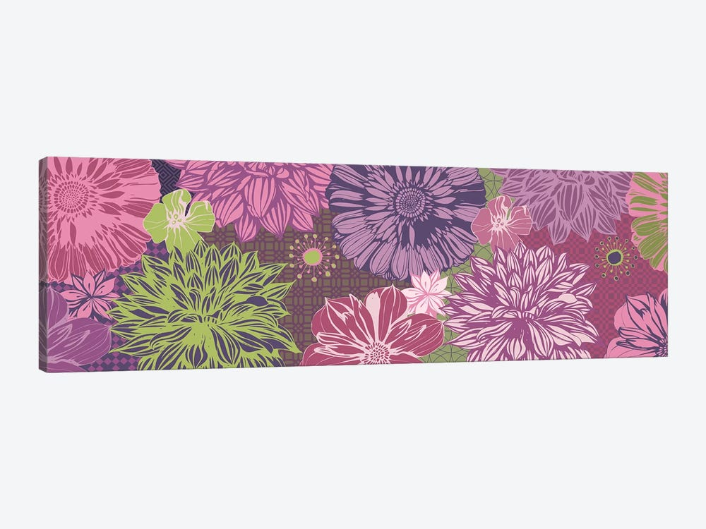 Flowers & Patterns (Green&Pink) by 5by5collective 1-piece Canvas Artwork