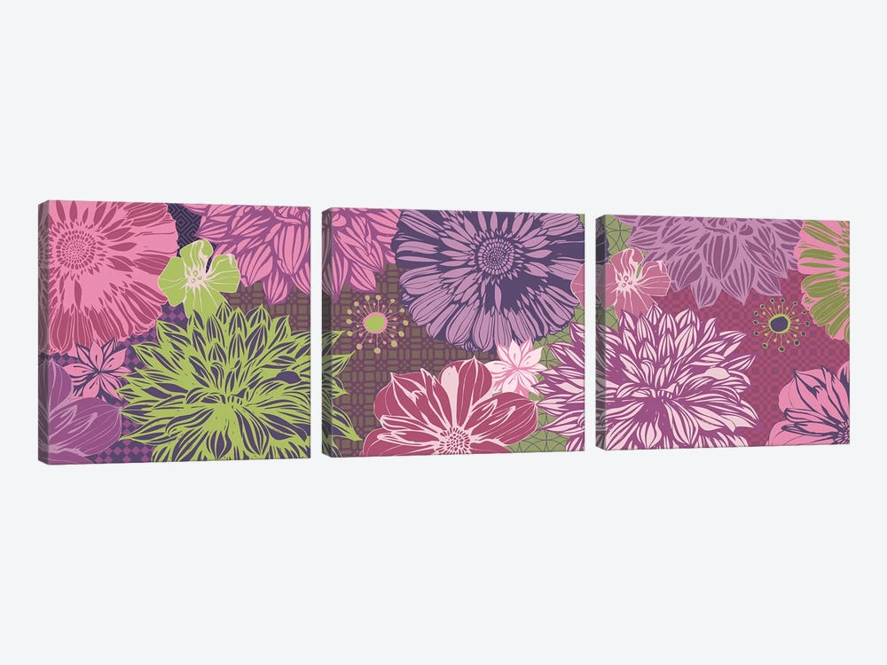 Flowers & Patterns (Green&Pink) by 5by5collective 3-piece Canvas Art