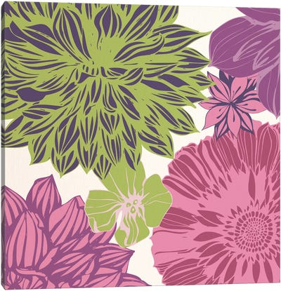 Flowers (Green&Pink) Canvas Art Print