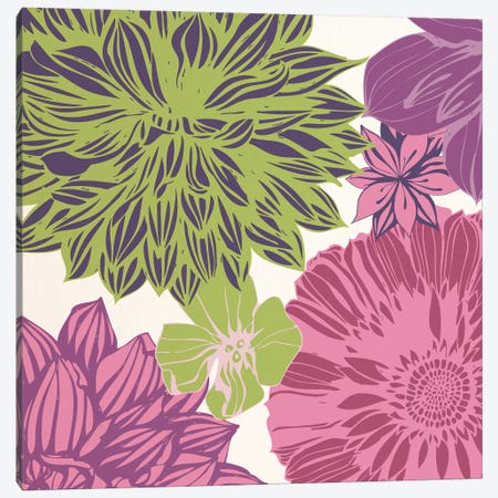 Flowers (Green&Pink) Canvas Print #FLPN111} by 5by5collective Canvas Art Print