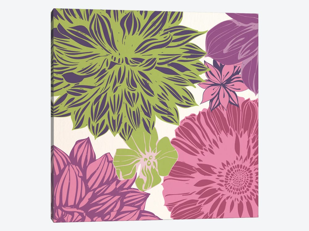 Flowers (Green&Pink) by 5by5collective 1-piece Art Print
