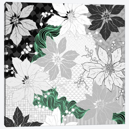 Floral Pattern (Black&White&Green) Canvas Print #FLPN117} by 5by5collective Canvas Art