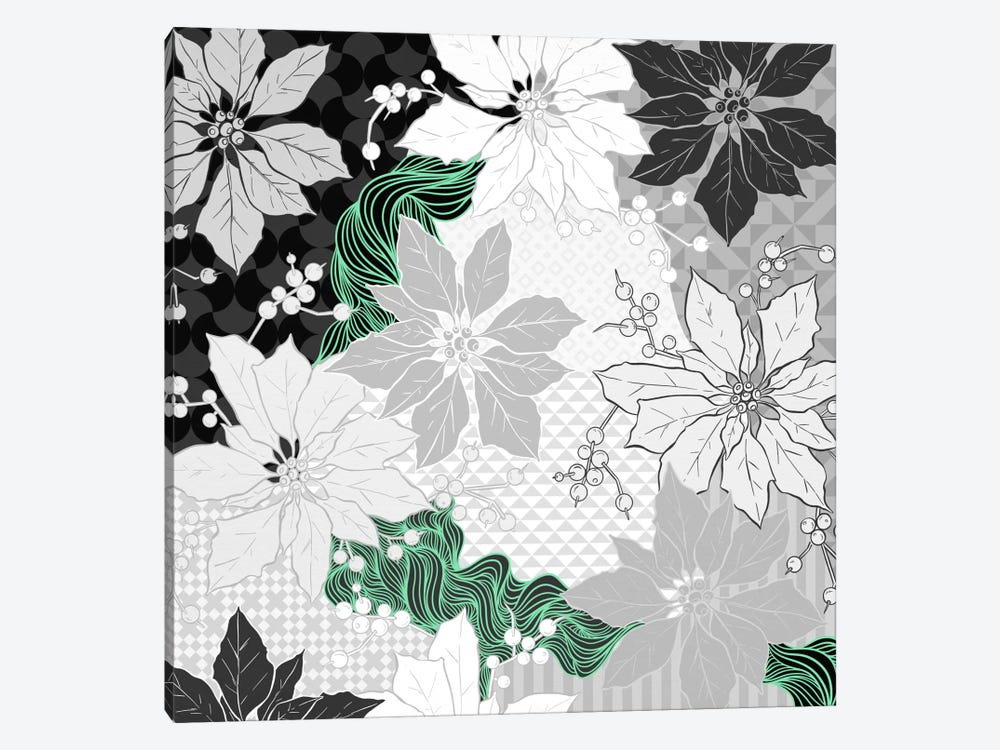 Floral Pattern (Black&White&Green) by 5by5collective 1-piece Canvas Art Print