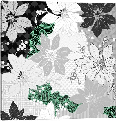 Floral Pattern (Black&White&Green) Canvas Art Print