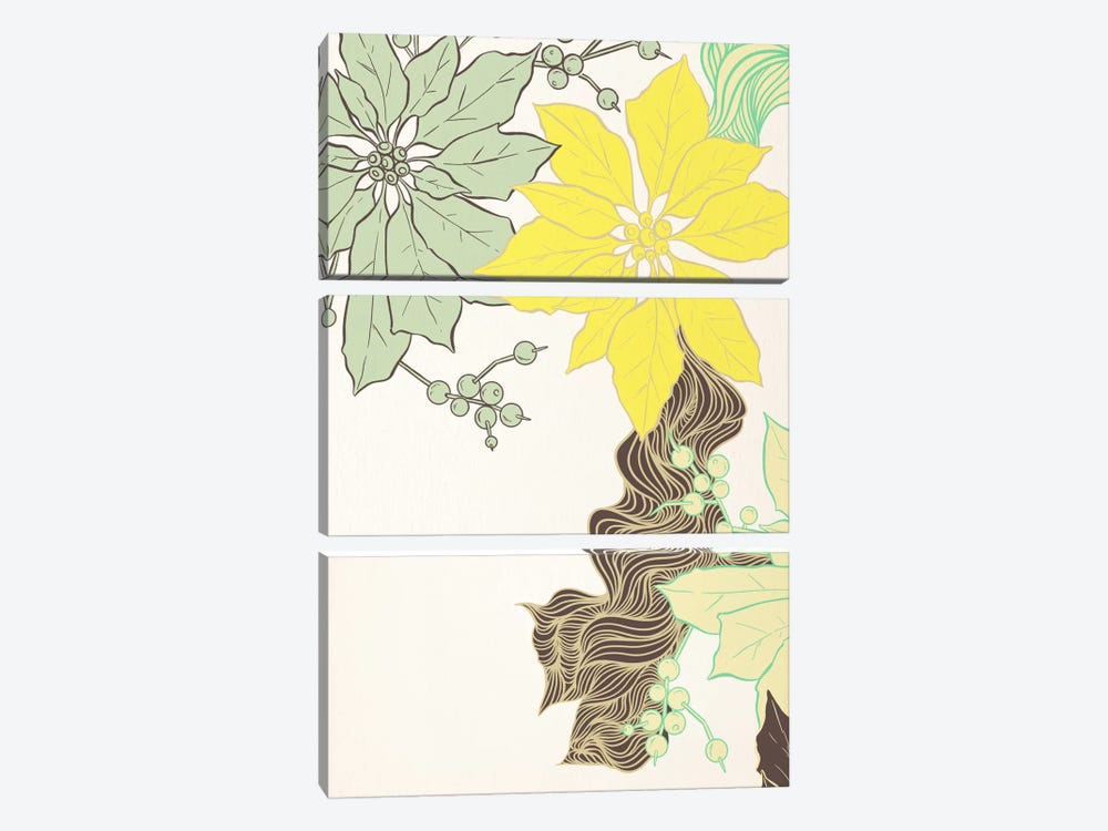 Floral Pattern (Green&Yellow) by 5by5collective 3-piece Canvas Art Print