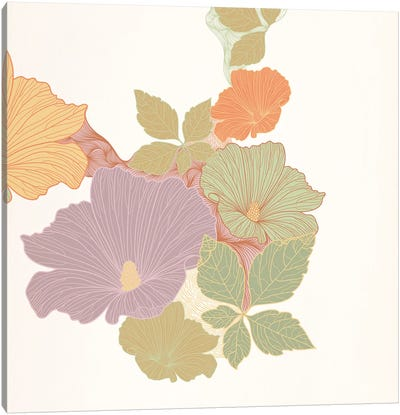 Flowers & Leaves (Multi-Color) Canvas Art Print