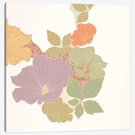 Flowers & Leaves (Multi-Color) Canvas Print #FLPN11} by 5by5collective Canvas Print