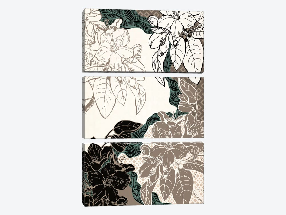 Floral Pattern (Four Colors) by 5by5collective 3-piece Canvas Art