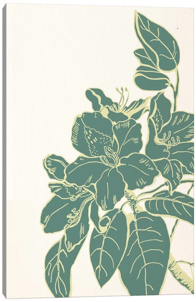 Flower & Leaves (Green) Canvas Art Print