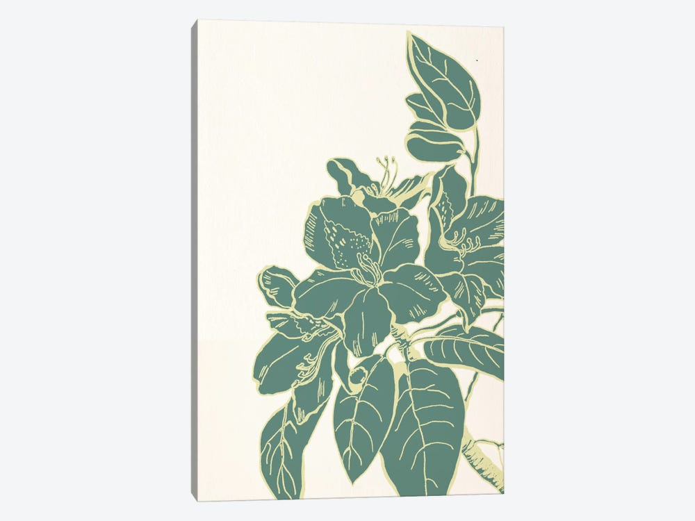 Flower & Leaves (Green) by 5by5collective 1-piece Canvas Art Print