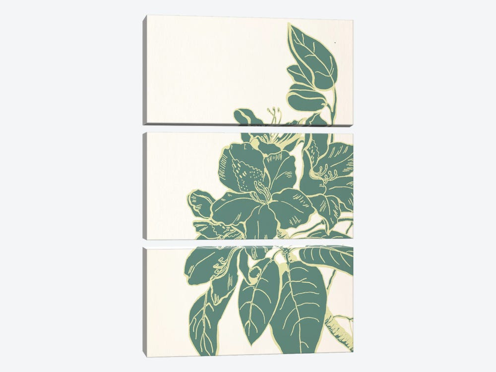 Flower & Leaves (Green) 3-piece Art Print