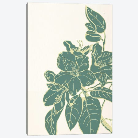 Flower & Leaves (Green) Canvas Print #FLPN122} by 5by5collective Canvas Artwork