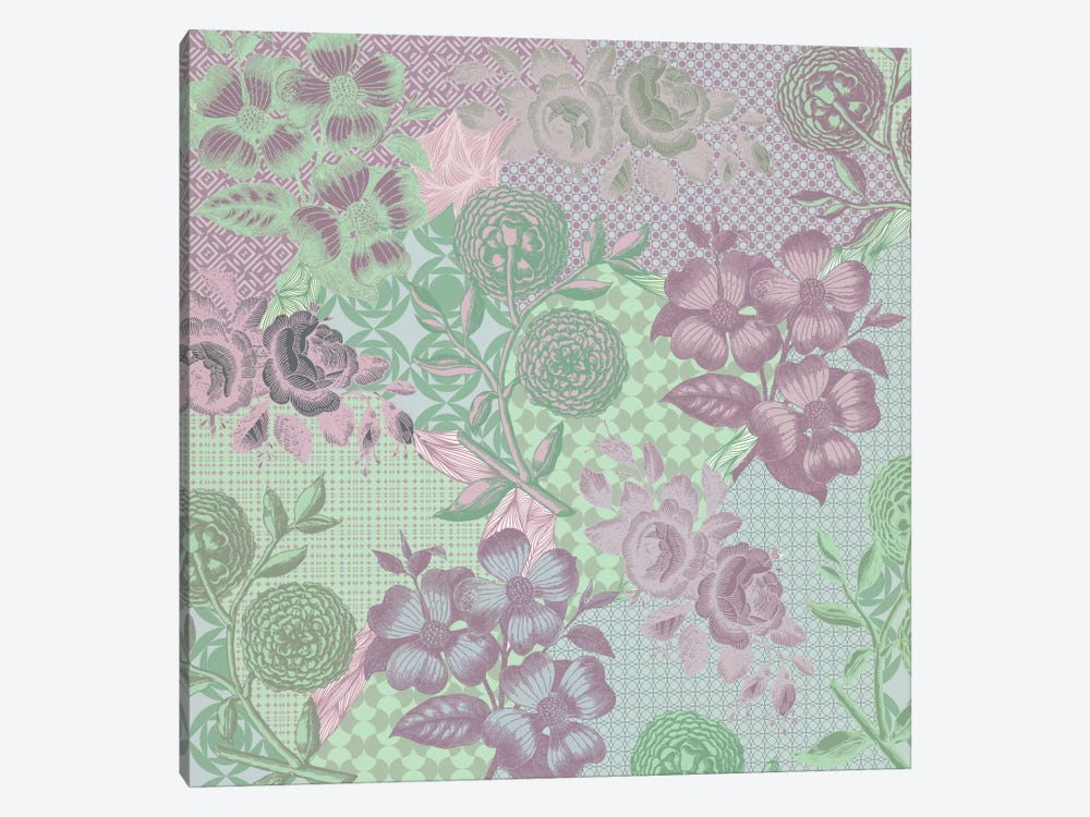 Floral Patterns (Green&Pink) by 5by5collective 1-piece Canvas Artwork