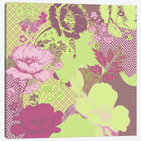Floral Pattern (Yellow&Pink) Canvas Print #FLPN133} by 5by5collective Canvas Print
