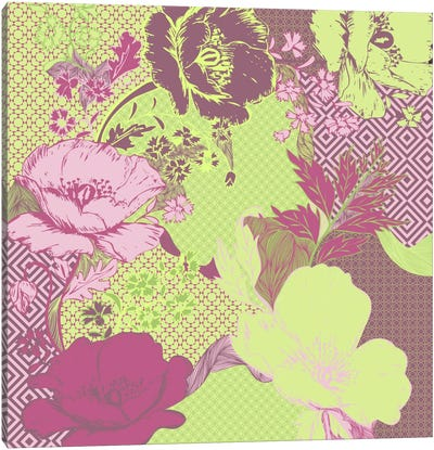 Floral Pattern (Yellow&Pink) Canvas Print #FLPN133